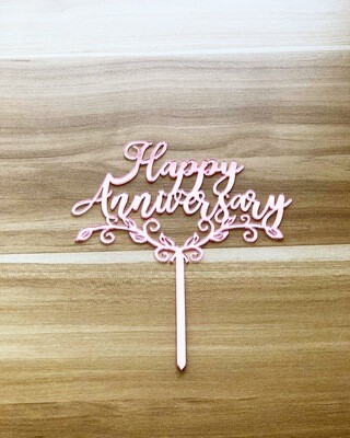 Topper - Happy Anniversary (Rose Gold)