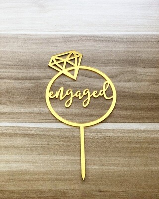 Topper - Engaged (In a Ring-Gold)