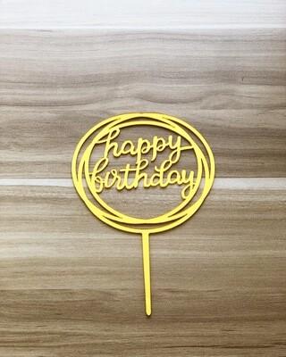 Topper - Happy Birthday (Round-Gold)