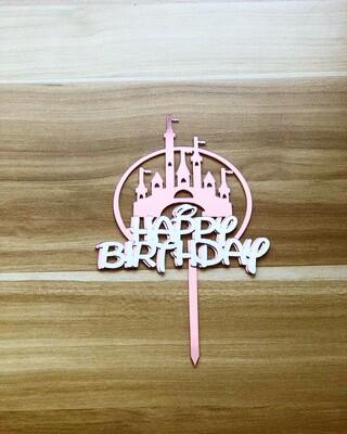 Topper - Happy Birthday (Disney Castle-Rose Gold)