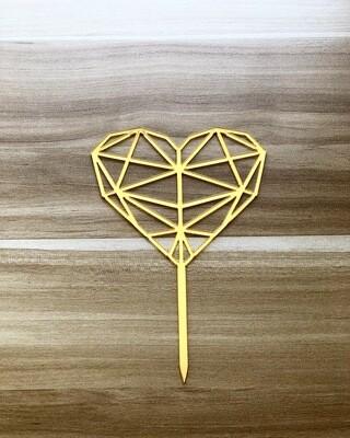 Topper - Heart Shape-Gold)