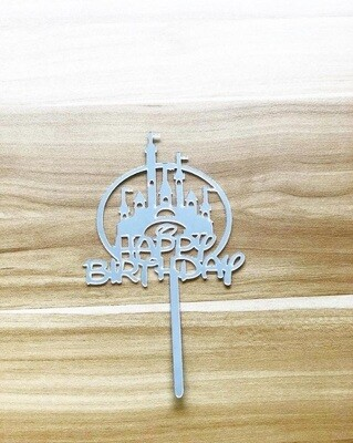 Happy Birthday (Disney Castle-Silver)