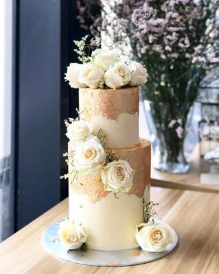 Gold Dress on White Cake