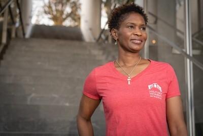 Women's Red V Neck T-Shirt - Small