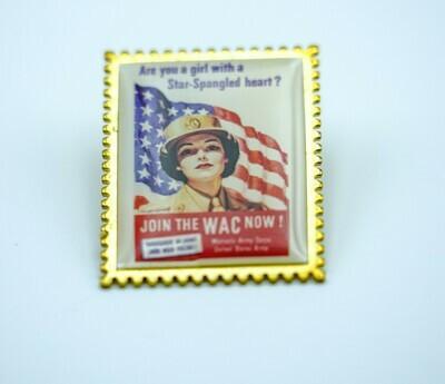WAC- Star Spangled Heart Pin