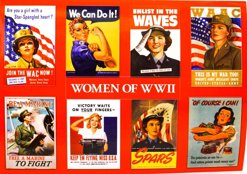 Sticker Postcard WWII Women