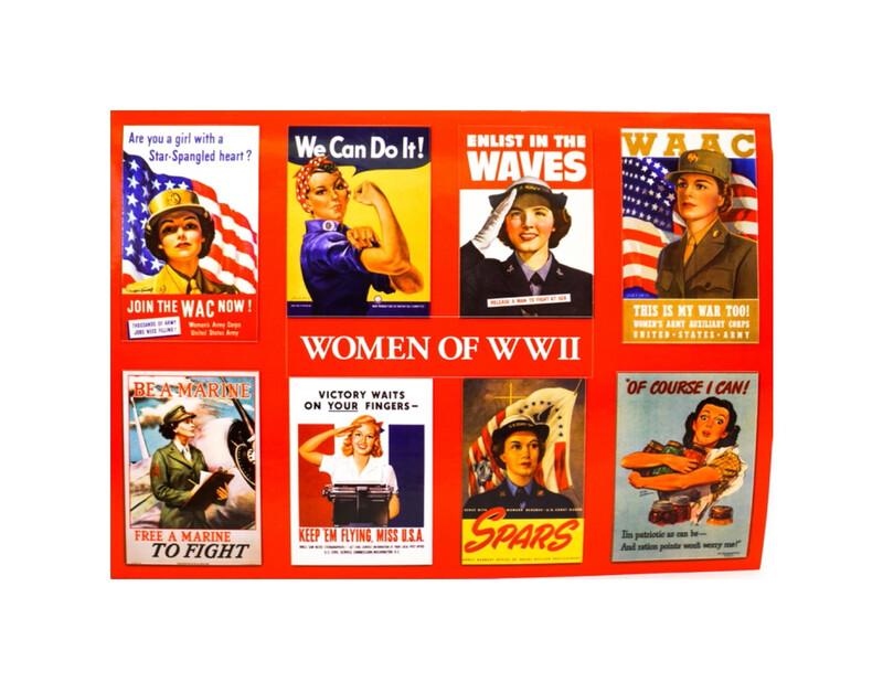 Sticker Postcard WWII Women