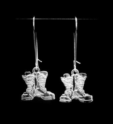Hard Core Boots Earrings Sterling Silver 19mm