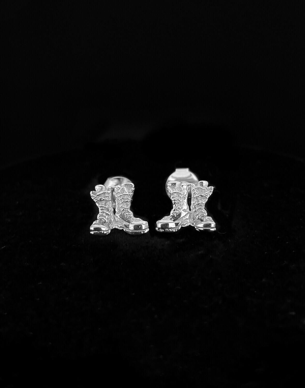 Stud Boots Earrings Sterling Silver