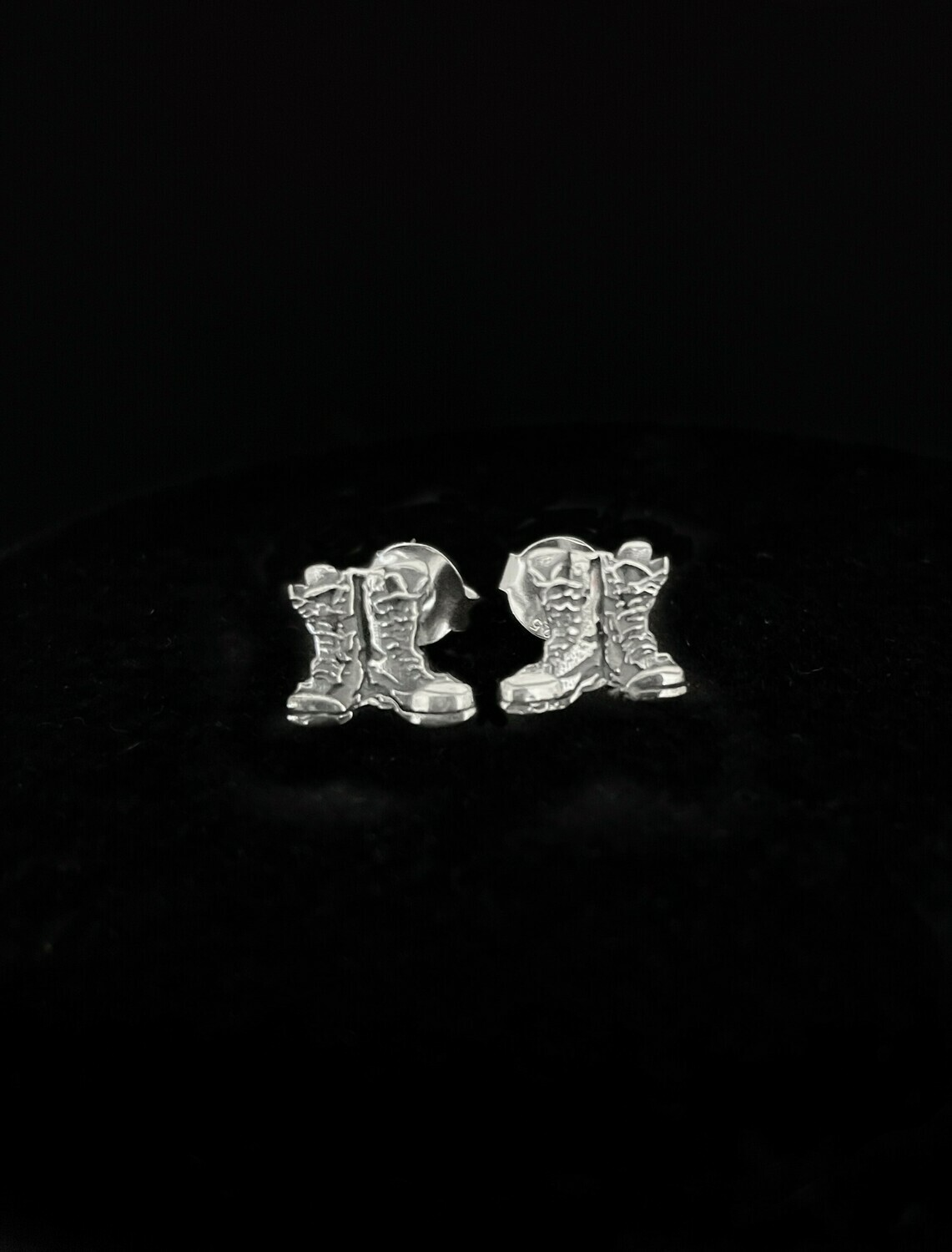 Z Discontinued Antique Stud Boots Earrings Sterling Silver