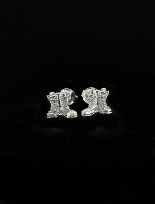 Antique Stud Boots Earrings Sterling Silver