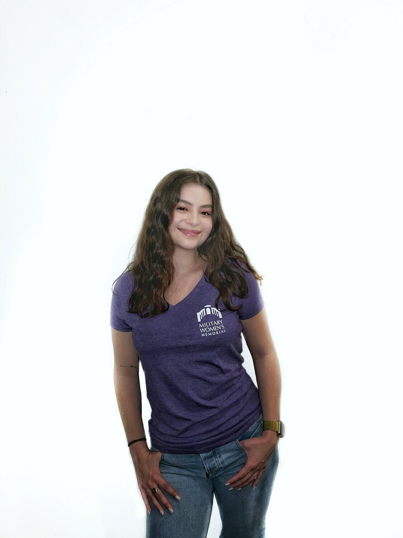 Small MWM Purple Women's V Neck T-Shirt