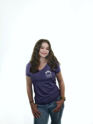 XL MWM Purple Women's V Neck T-Shirt