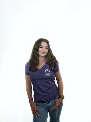 LG MWM Purple Women's V Neck T-Shirt