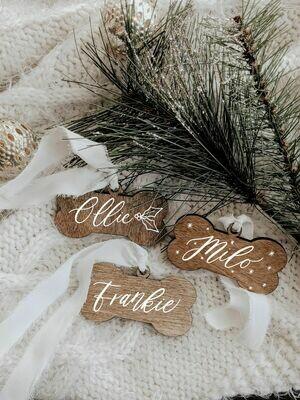 Wood Dog Bone Ornament