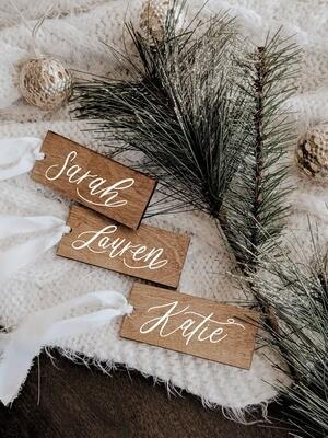 Set of 5 Wood Gift / Stocking Tag