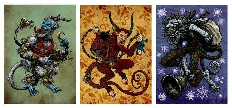 Krampus Illustrated Holiday Packs - 6 Blank Cards