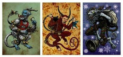 Krampus Illustrated Holiday Packs - 6 Blank Cards
