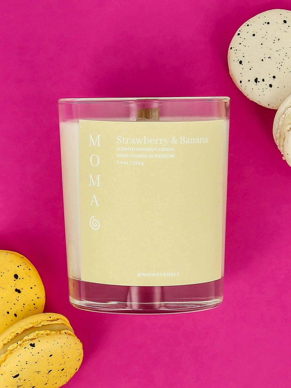 """Ароматическая свеча MOMACANDLE из натурального кокосового воска """"Strawberry & Banana"""""""