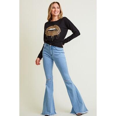 Casual Light Denim Flared  Jeans