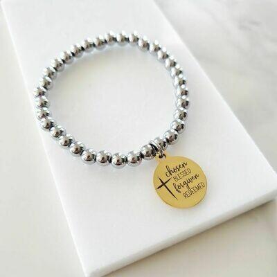 Chosen By God Gold Charm Silver Beaded Bracelet