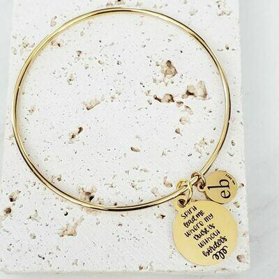 Spirit Lead Me Gold Dainty Charm Bangle Bracelet