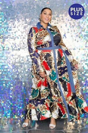Plus Chain Print Denim Maxi Dress