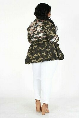 Plus Camo Sequin Peplum Jacket