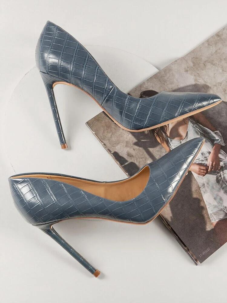 Faux Croc Leather Stiletto High Heels