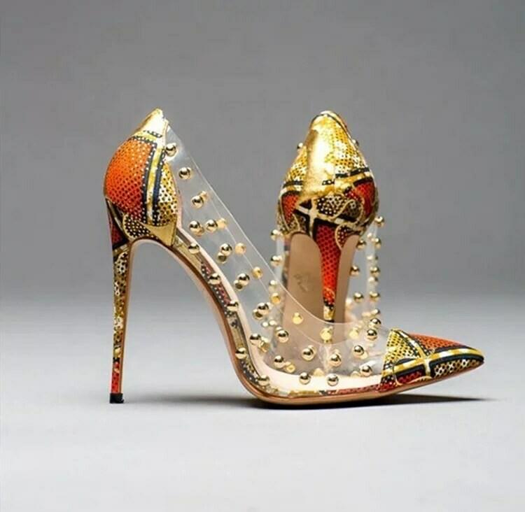 Big madam African print high heel shoe