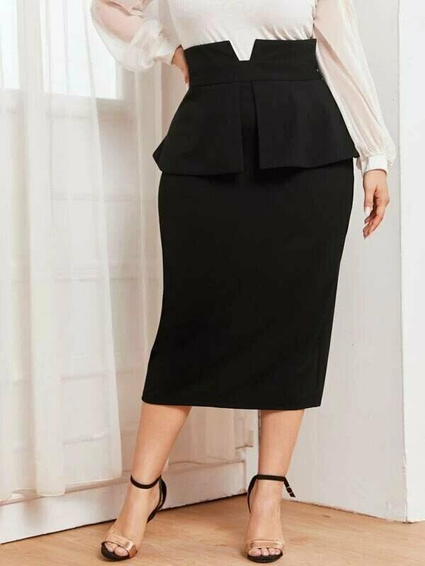 Plus High Rise Peplum Skirt