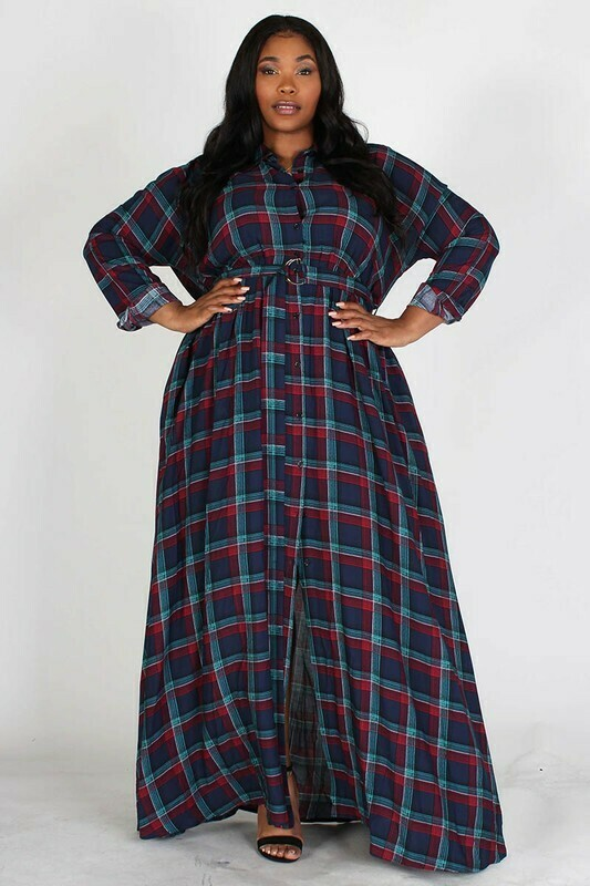 Plus Plaid maxi dress with belt and pockets