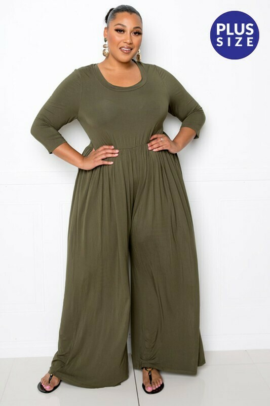 Plus Round Neck Jumpsuit