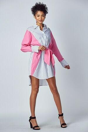 Women Pattern-Block Shirt Dress w/Tie
