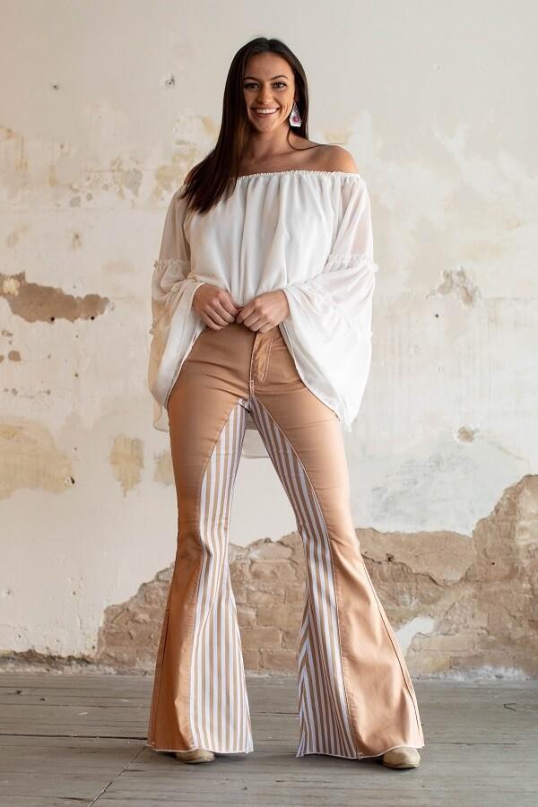 Women Stripe Flare Jeans