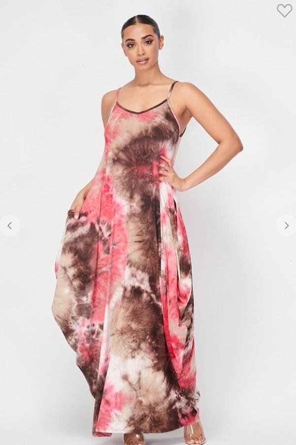 Women Tie Dye Spaghetti Strap Maxi Dress