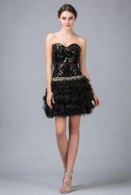 Short Sequin Dress w/Chiffon Scarf