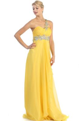 One Shoulder Gown w/Chiffon Shoulder Scarf