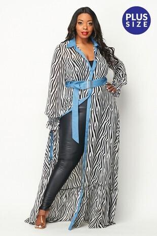 Plus Zebra Print Maxi Denim Dress