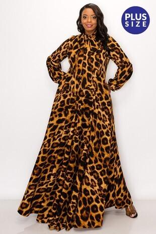 Plus Leopard Print Maxi Dress