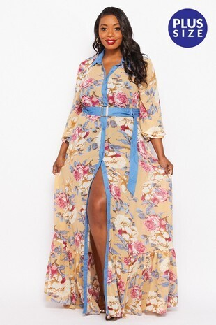 Plus Floral Maxi Dress