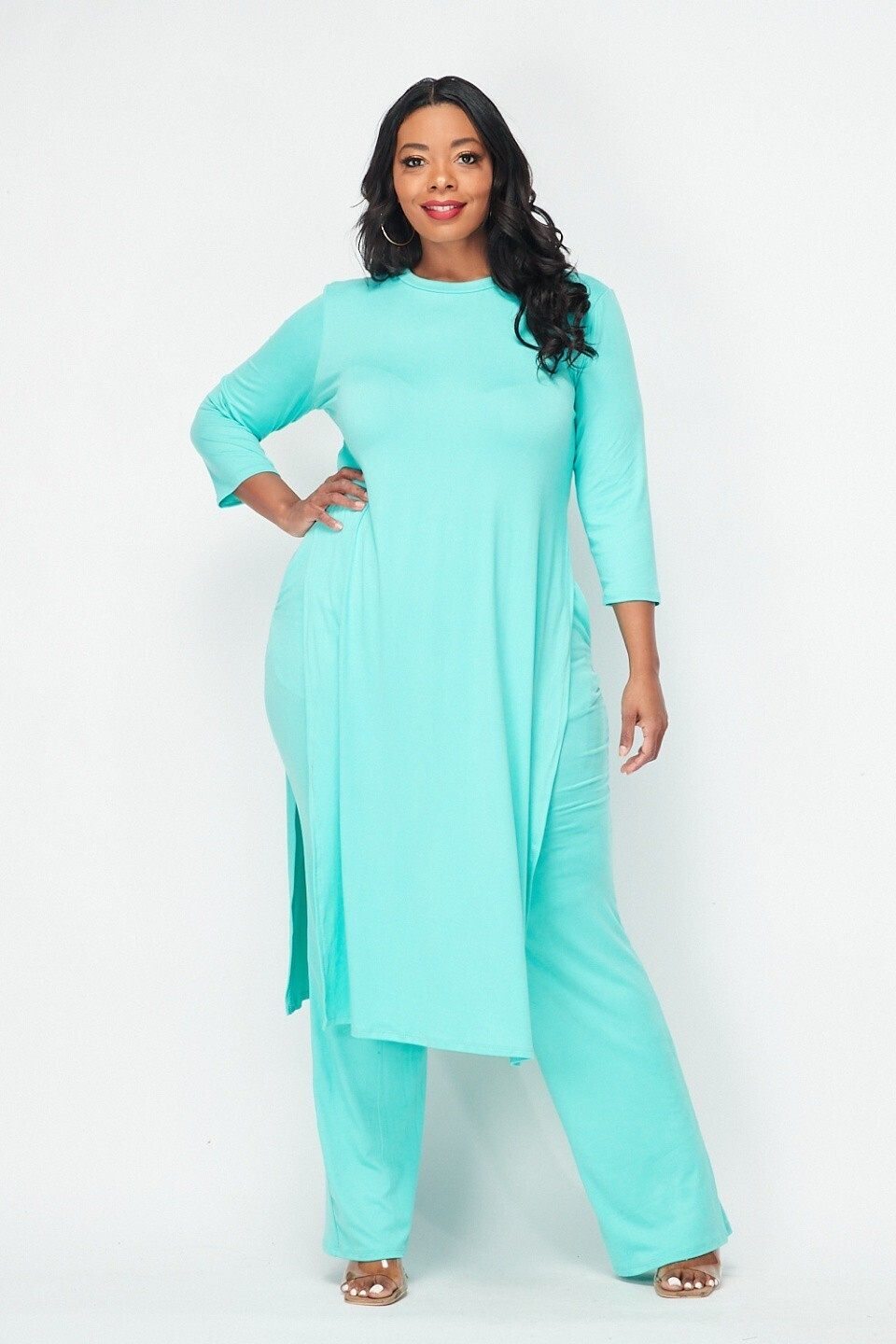 Plus Classy Tie Top and Pant Set