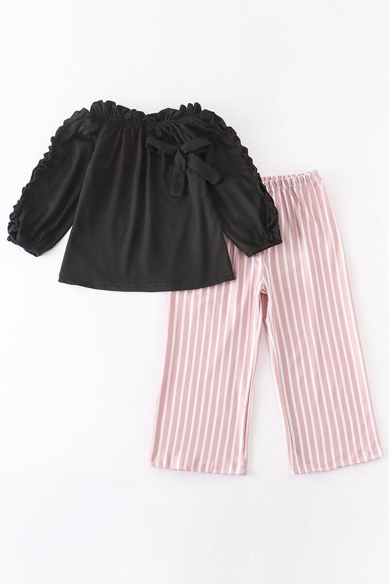 Girls Ruffle Top and Stripe Pant Set