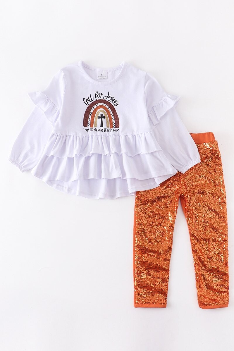 Girls Fall For Jesus Top And Sequin Pants Set