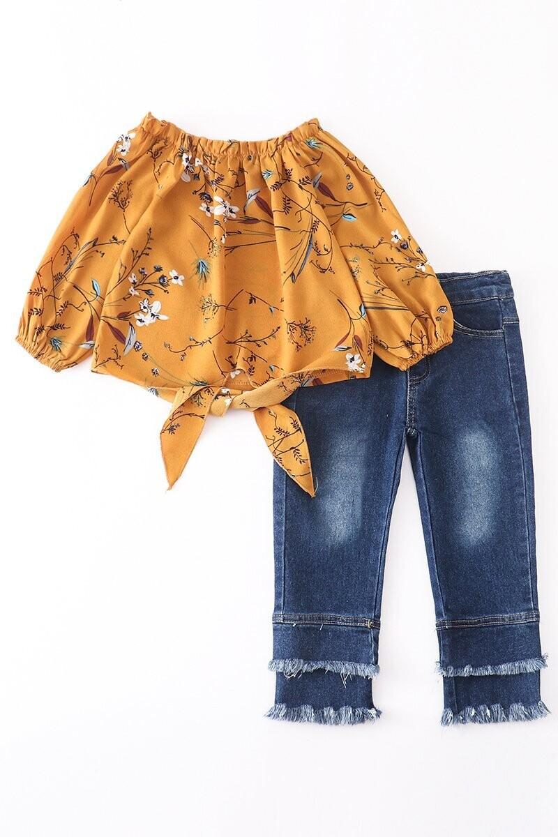 Girls Mustard floral tie front raw hem jeans set