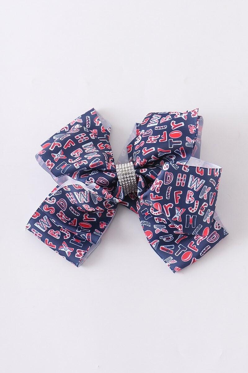 Girls alphabet rhinestone hair bow
