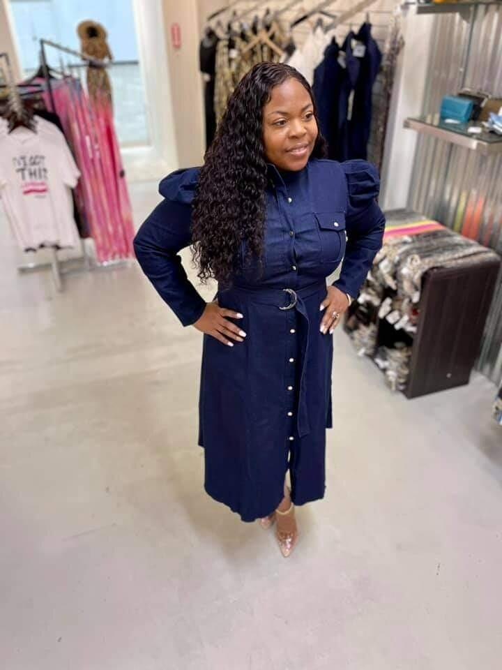 Women Denim Puff Sleeve Dress