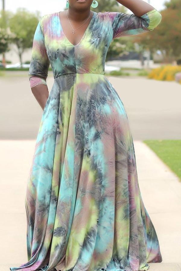 Plus Tye Die Maxi Dress
