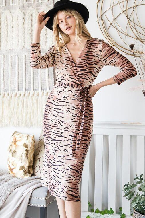 Women Tiger Print V-Neck Wrap Dress