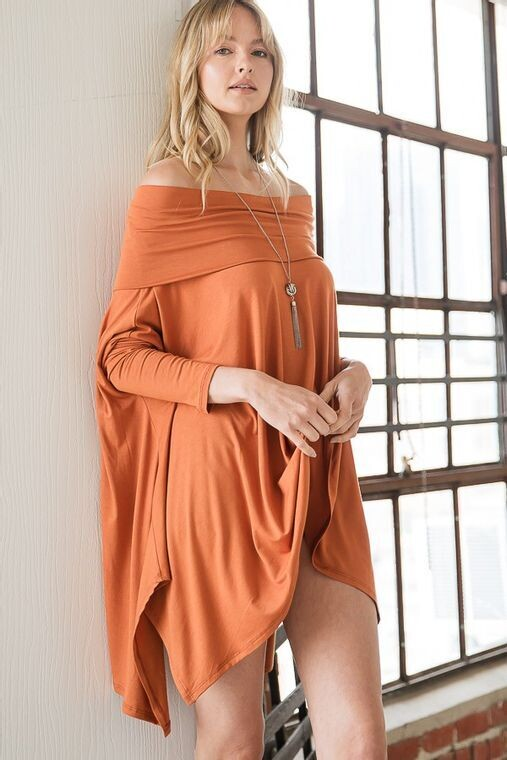 Women Cowl Neck or Off Shoulder Oversize Top